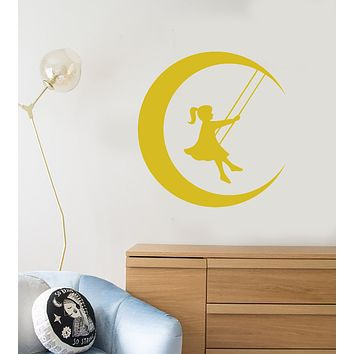 Vinyl Wall Decal Fairy Tale Swing Little Girl On Moon Crescent Stickers (3501ig)