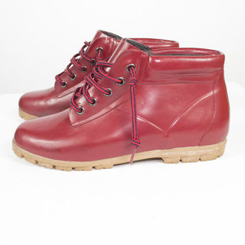 10 | Vintage Land's End Red Rain Boots /  lace up rubber rain boots galoshes booties / outdoor hiking waterproof /  size 10