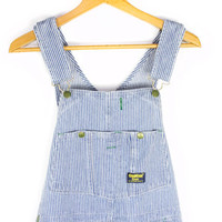 vintage OshKosh adult overalls - blue & white pinstripe - Osh Kosh vestbak railroad stripe - workwear - 34x34