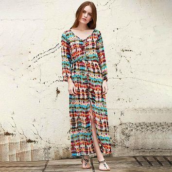 Fashion High Waist Multicolor Print V-Neck Long Sleeve Buttons Cardigan Maxi Dress