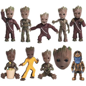 New Avengers Baby Guardians of Galaxy Dancing Movie Figures Toys Tree Man ThanosToy Keychain Pendants Dolls Gifts Macetero Smash