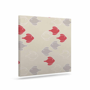 "Gukuuki ""Mayan Fish"" Beige Magenta Canvas Art"