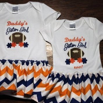 Florida, Florida Gators, bodysuit, football, baby girl clothes, baby shower gift, new baby gift, sibling clothing, Orange, Blue, Gators