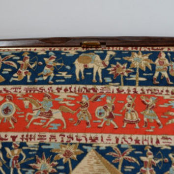 Vintage Custom Made Clutch Purse - Egyptian Inspired Cloth - 1960 Vintage Statement Purse