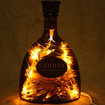 Liquor Bottle Light, Upcycled Godiva Chocolate Liqueur Liquor Bottle, Decor for Mancave, Bar Lighting