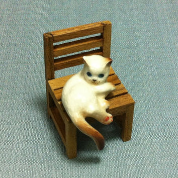 Miniature Ceramic Cat Kitty Laying On Wooden Chair Animal Cute Little Tiny Small White Figurine Statue Decoration Collectible Hand Painted