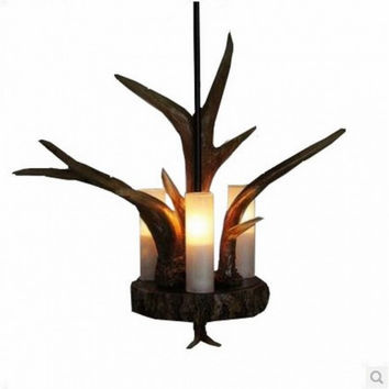 3 light deer horn pastoralism antique pendant lamp light chandelier for bar dinning room and kitchen