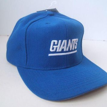 ESBONG6 NY Giants Spell Out New York NFL Hat Vintage Blue Snapback Baseball Cap w/ Tag