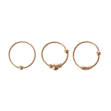 Gold Beaded Cartilage Hoop Earrings Set