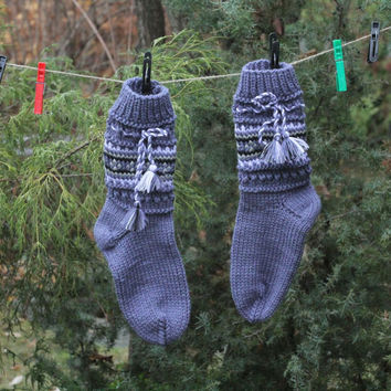 "Knitted woolen socks ""Lilac"""