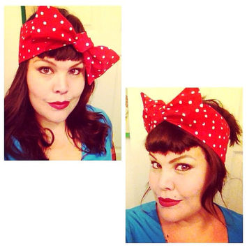 Vintage Inspired Head Scarf Red with White Polka by OhHoneyHush