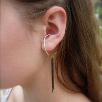 Hoop Style Ear Cuffs, Ear Wraps, Earcuff, Non Pierced Earrings, Pair of Gold Ear Cuffs with Black and Gold Chains