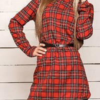 Red Plaid Print Long Sleeve Shift Mini Dress
