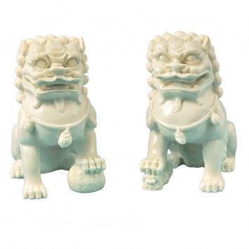 Chinese Contemporary Fu Temple Dogs Statue in White