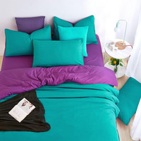 Minimalism Home Bedding Sets Soft and Comfortable Sea Green Duver Quilt Cover Bed Sheet Pillowcase King Queen Full Twin