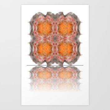 Fractal 22 Orange Art Print by Henrik Lehnerer