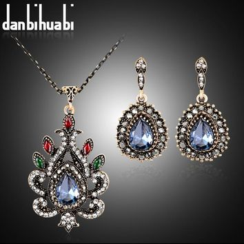 Classic Style Turkish Vintage Jewelry Sets Necklace &Earrings Sculpture Flowers 4 Colors Resin Crystal Anti Gold tassels