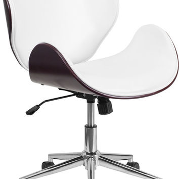 Mid-Back Mahogany Wood Swivel Conference Chair in White Leather