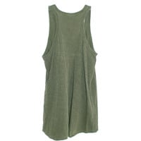 Wilt Shrunken Boyfriend Tank in Army Green