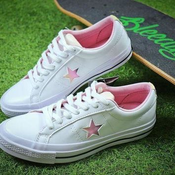 CREYNW6 2018 YEAR OF THE DOG Converse One Star White Pink Shoes