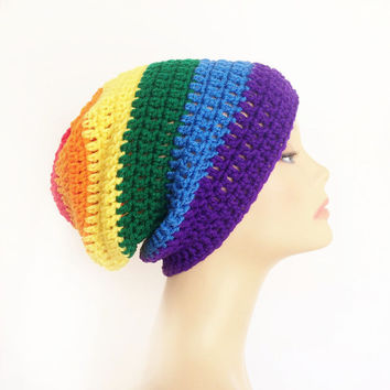 FREE SHIPPING - Crochet, Supa Slouch, Beanie, Hat - Unisex, Mens, Womens - Rainbow, Red, Orange, Yellow, Green, Blue, Purple, Violet
