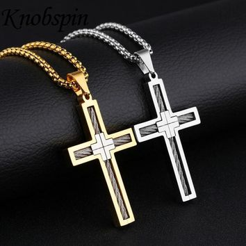 Mens Necklaces Pendants Gold color Stainless Steel Cross Steel wire Pendant Necklace High quality Fashion Jewelry