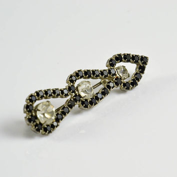 Rhinestone Heart Arrow Brooch - Prong Set Black Glass Crystal Rhinestone - Vintage Costume