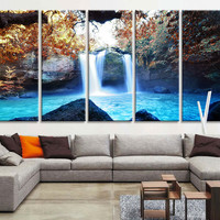 Large Art Print -  Waterfalls in Forest Canvas Prints  - Waterfalls and Lake Large Art Canvas Printing - Extra Large Canvas Wall Art Print