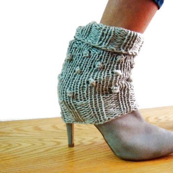 Knit Spats Leg Warmers PDF PATTERN DIY Ankle Kuffs