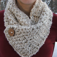 Crochet Cowl Natural Button Warm color scarf by BeadGs on Etsy