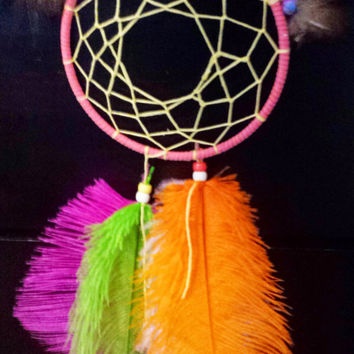 "Handmade 5"" Dream Catcher, Legend of the Dreamcatcher, Bright Neon Native American Indian Wall Hanging Decor, Teenagers Room, Good Dreams"