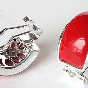 Hot sell Noble- hot sell new - BEAUTIFUL NEW 925 SILVER RED CORAL STUD EARRINGS 13X20MM