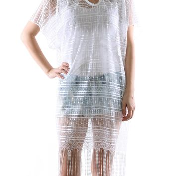 White Lace Crochet Cover Up Poncho Scarf