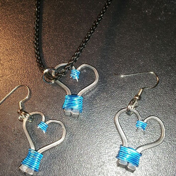 Turquoise wire wrapped horseshoe nail heart necklace, earrings, or necklace and earrings set jewelry