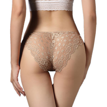Lace Underwear Lady low-Waist Seamless Panties 4 Color Sheer Piece Female Pure Silk Briefs P52