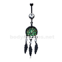 Blackline Opal Dreamcatcher Feather Belly Button Ring Navel Ring 14ga