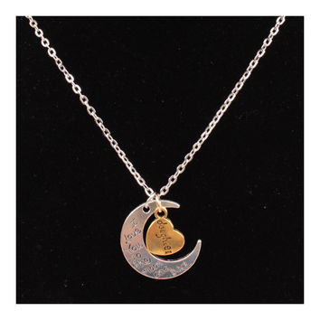 X329 love Valentine's Day love couple of European and American moon necklace ebay jewelry supply   DAUGHTER SILVER