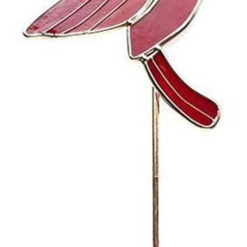 Iron Cardinal Art Glass Garden Stake