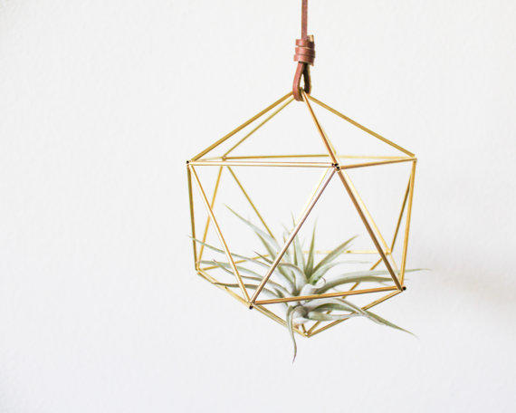 Himmeli fig 5 brass orb modern from handmadesammade for Geometric air plant holder