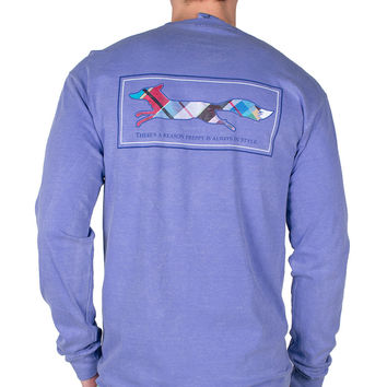 Longshanks Long Sleeve Tee Shirt in Flo Blue by Country Club Prep