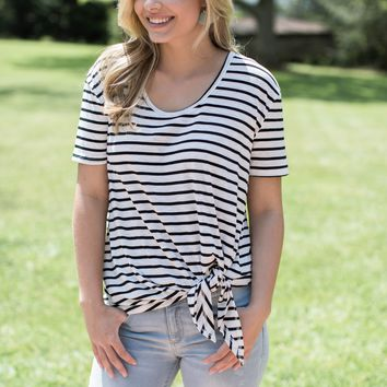 Webster Striped Knotted Tee, White/Black