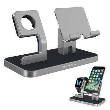 ICIK4S2 Apple Watch Stand, Cell Phone Stand, iPhone 6 7 8 X Stand, BENTOBEN NightStand Mode iWatch Stand iPhone Dock iPad Mini Charging Station for iWatch Series 3 Series 2 Series 1 38mm 42mm - Space Gray