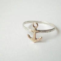 Brass Anchor Ring, Hammered Sterling Silver Ring, Handforged, Sea, Sailing, Nautical Jewelry, Unisex Ring