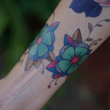 Cute Traditional Teal Cherry Blossoms - Hand Drawn Temporary Tattoo