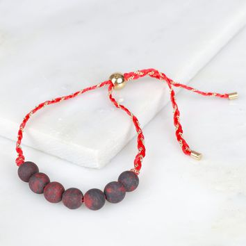 Lucky Wooden Beaded Bracelet Red