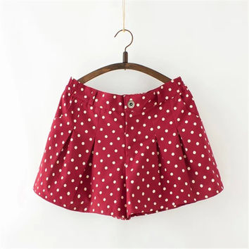 Korean Summer Women's Fashion Print With Pocket Pleated Shorts [4918896964]