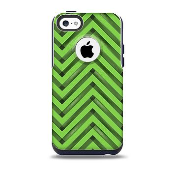 The Lime Green Black Sketch Chevron Skin for the iPhone 5c OtterBox Commuter Case