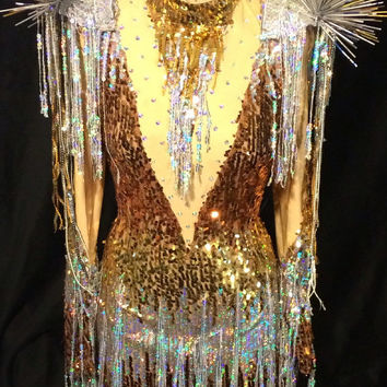 Gold, Bronze & Silver Sequin Mini Dress Dance Costume