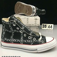 Converse X JW Andersom black and white letters high-top lovers shoes F-CSXY  black