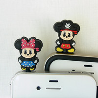 Set of 2 - Pirate Mickey and Minnie - Cell Phone Anti-Dust Plugs